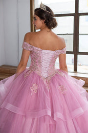 Layered Off Shoulder Glitter Quinceanera Dress by Calla KY018383X