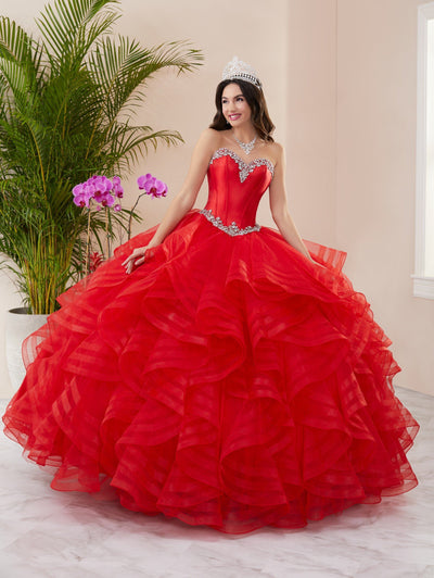Layered Strapless Quinceanera Dress by Fiesta Gowns 56411