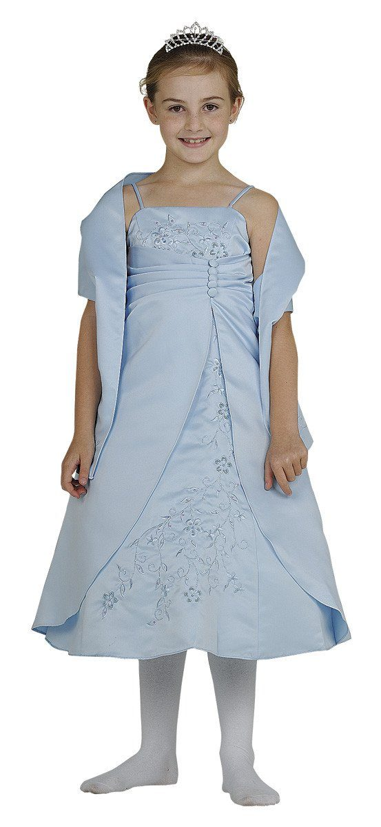 Light Blue Flower Girl Dresses with Shawl-Girls Formal Dresses-ABC Fashion