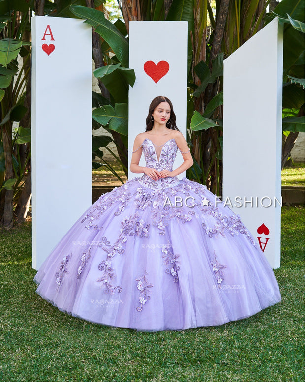Lilac Cape Quinceanera Dress by Ragazza D51-551