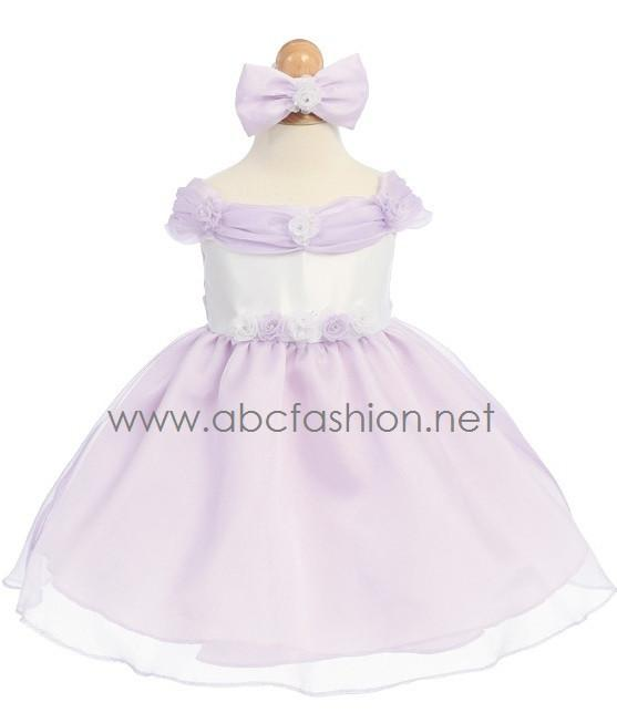 Lilac Organza Baby Girl Dress with Rose Details - 7 Colors-Girls Formal Dresses-ABC Fashion