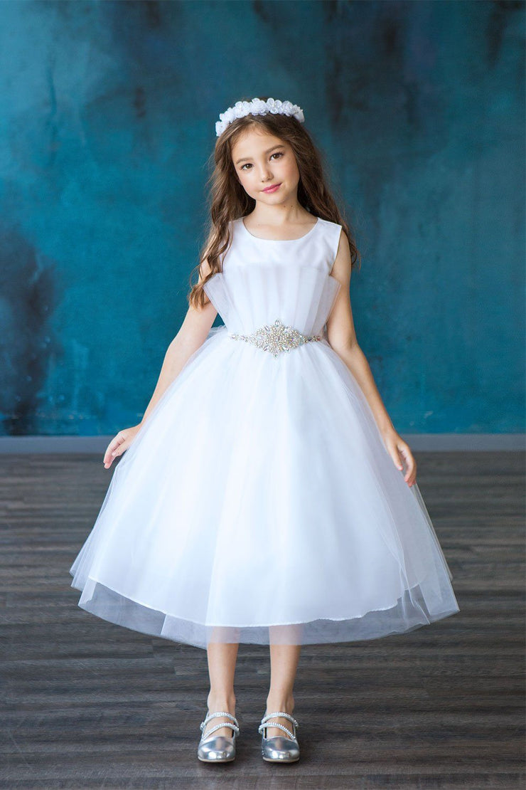 Little Girls Pleated Tea Length Tulle Dress by Calla D793
