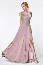 Long A-line Chiffon Dress with Lace Bodice by Cinderella Divine CD0133
