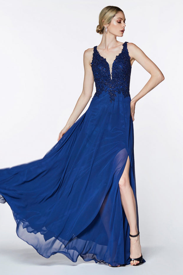 Long A-line Chiffon Dress with Lace Bodice by Cinderella Divine CD0133-Long Formal Dresses-ABC Fashion