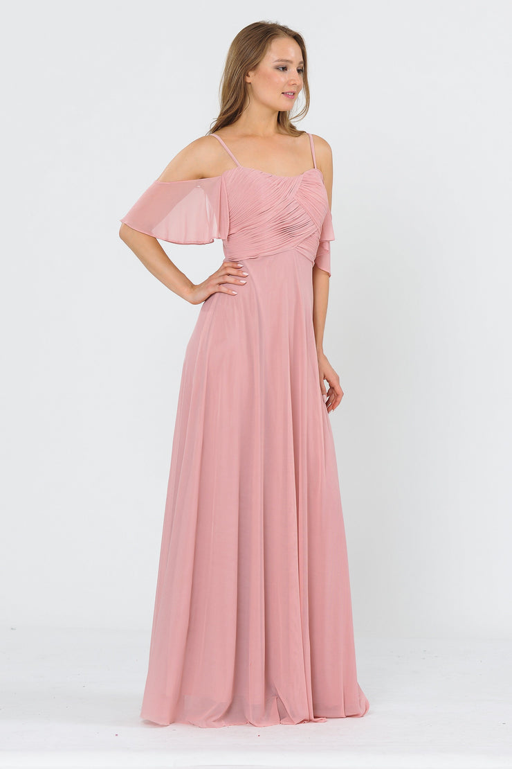 Long A-line Cold Shoulder Dress by Poly USA 8552