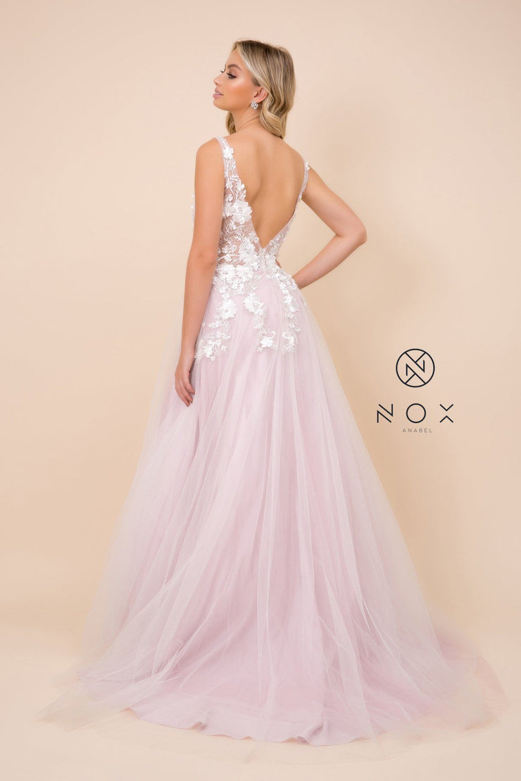 Long A-line Dress with 3D Appliques by Nox Anabel F339
