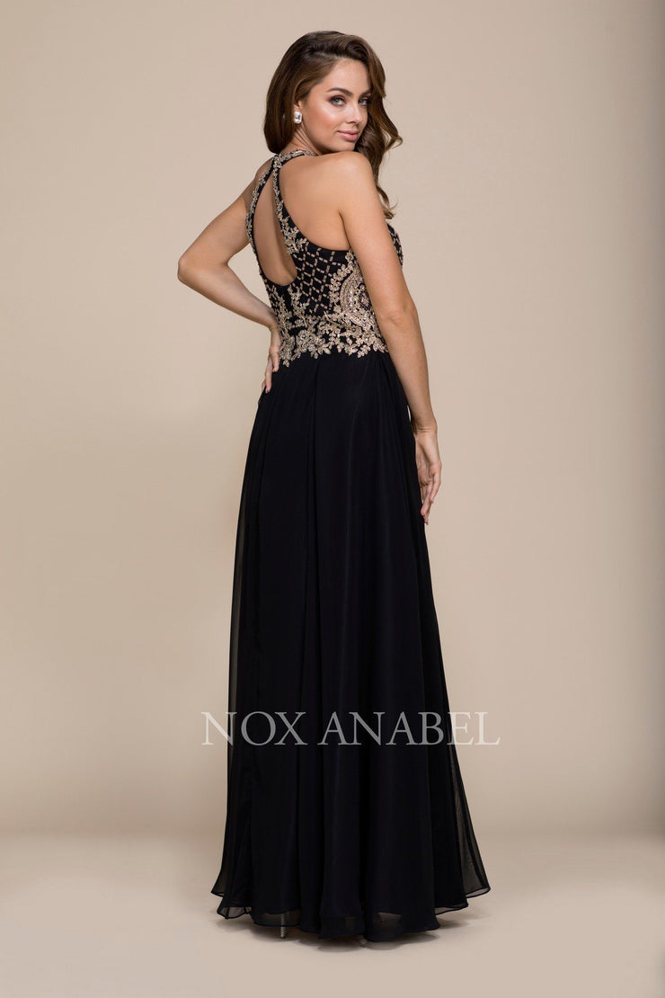 Long A-Line Dress with Beaded Bodice by Nox Anabel 8339-Long Formal Dresses-ABC Fashion