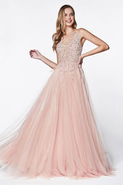 Long A-line Dress with Beaded Lace Bodice by Cinderella Divine CJ501-Long Formal Dresses-ABC Fashion