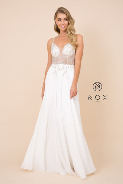 Long A-line Dress with Beaded Sheer Bodice by Nox Anabel T315