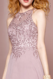 Long A-line Dress with Illusion Embroidered Bodice by Elizabeth K GL2680-Long Formal Dresses-ABC Fashion