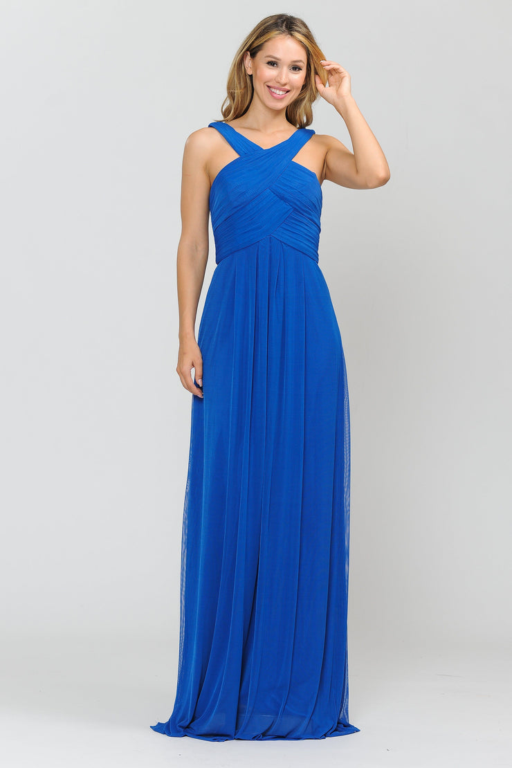 Long A-line Dress with Pleated Bodice by Poly USA 8554