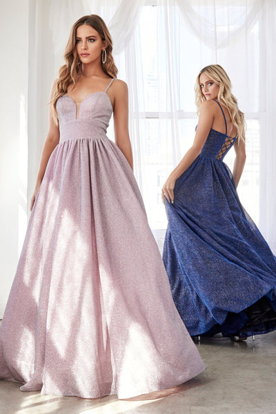 Long A-line Glitter Dress with Corset Back by Cinderella Divine J796