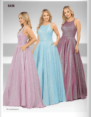 Long A-line Glitter Dress with Corset Back by Poly USA 8436