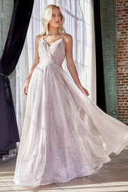 Long A-line Glitter Dress with Open Back by Cinderella Divine CD186