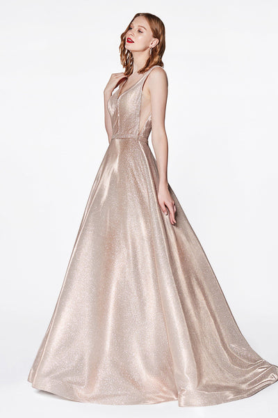 Long A-line Glitter Dress with Train by Cinderella Divine CB0029-Long Formal Dresses-ABC Fashion
