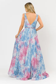 Long A-line Glitter Tie Dye Formal Dress by Poly USA 8346