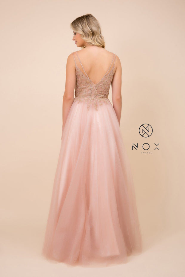Long A-line Glitter Tulle Dress by Nox Anabel T407