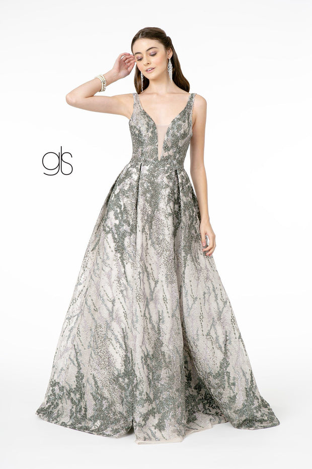 Long A-line Jeweled Lace Dress by Elizabeth K GL1835