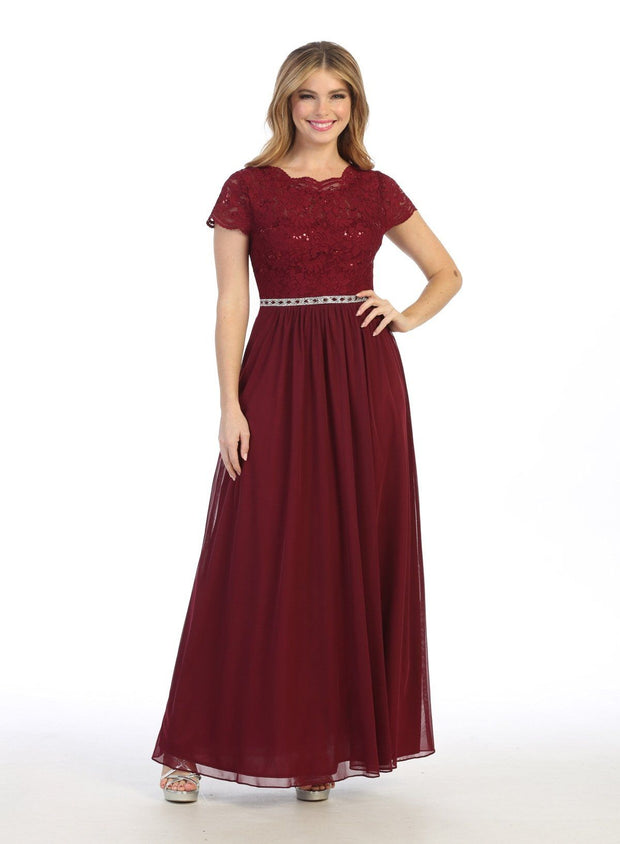 Long A-line Lace Bodice Dress with Short Sleeves by Celavie 6469