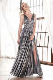 Long A-line Metallic Dress by Cinderella Divine CD160