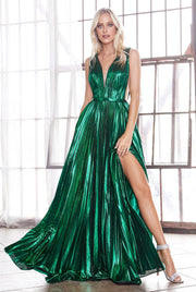 Long A-line Metallic Dress with Slit by Cinderella Divine CD160