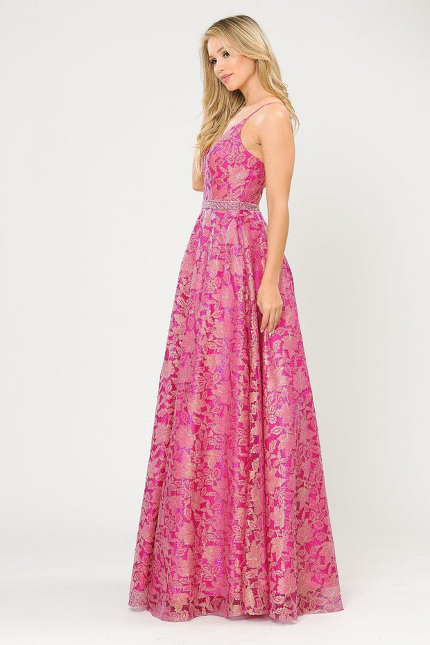 Long A-line Metallic Floral Lace Dress by Poly USA 8562