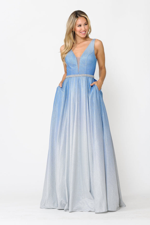 Long A-line Ombre Glitter Dress by Poly USA 8710
