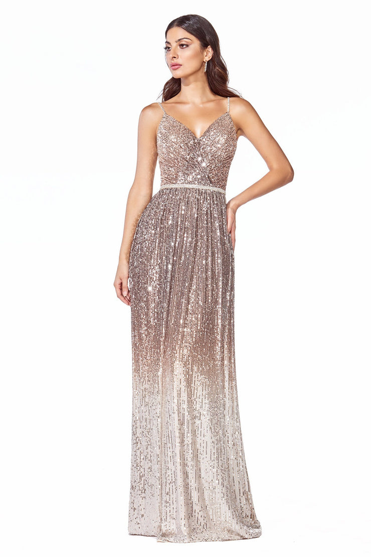 Long A-line Ombre Sequin Dress by Cinderella Divine CB057