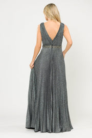 Long A-line Ruched Metallic Glitter Dress by Poly USA 8600