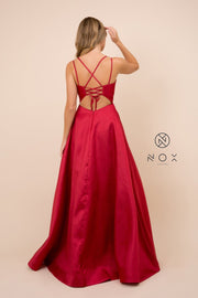 Long A-line Satin Dress with Corset Back by Nox Anabel T406