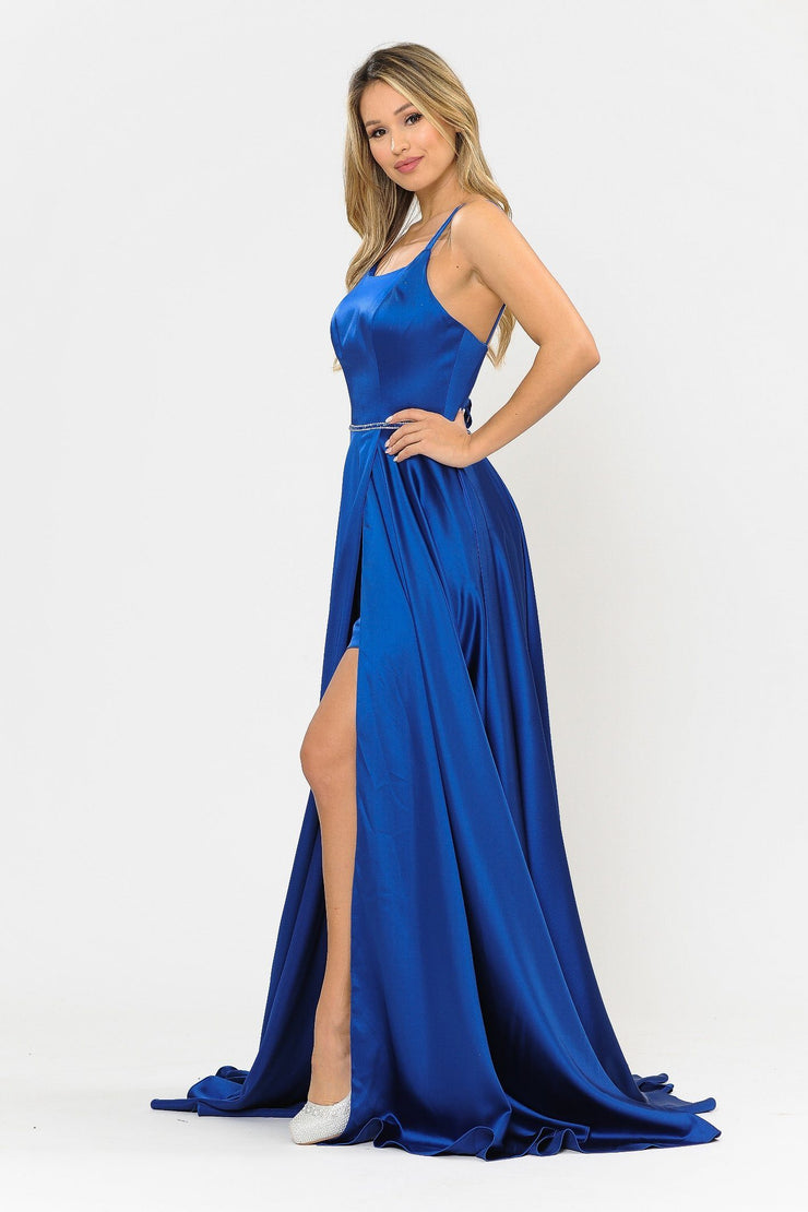 Long A-line Satin Dress with Corset Back by Poly USA 8652