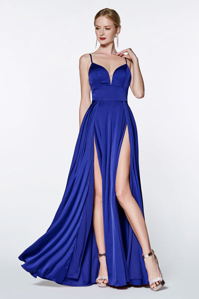 Long A-line Satin Dress with Double Slit by Cinderella Divine CJ526-Long Formal Dresses-ABC Fashion