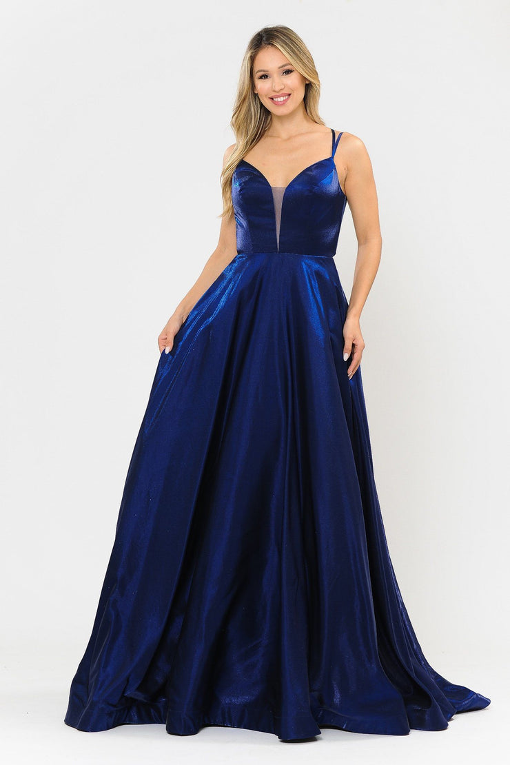 Long A-line Satin Dress with Illusion V-Neckline by Poly USA 8644