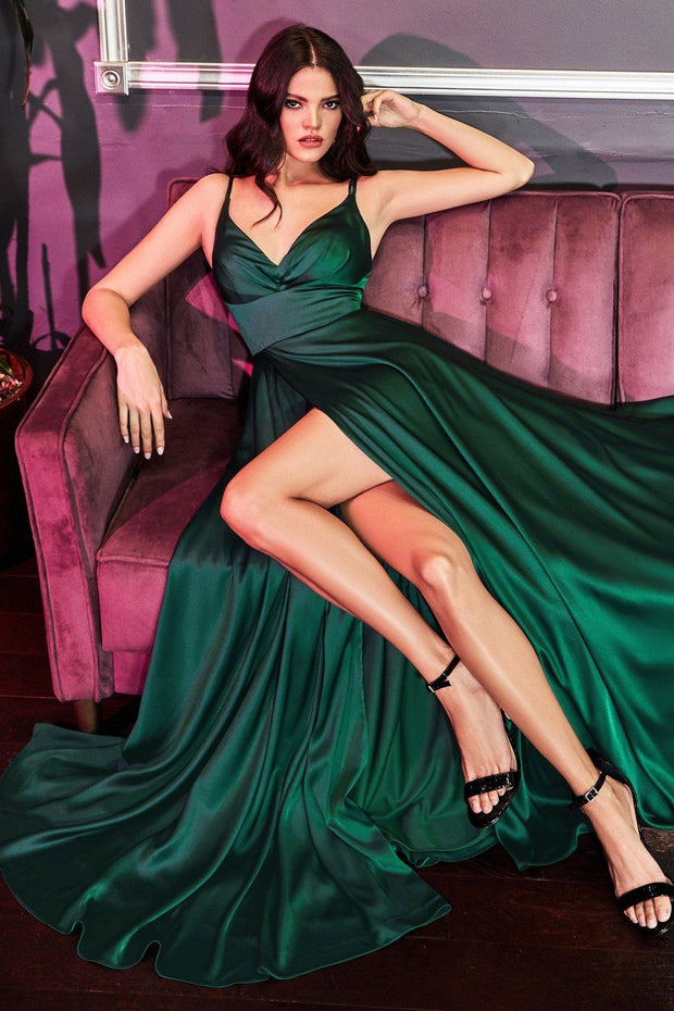 Long A-line Satin Dress with Leg Slit by Cinderella Divine 7472