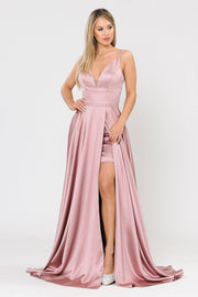 Long A-line Satin Dress with Short Skirt by Poly USA 8606