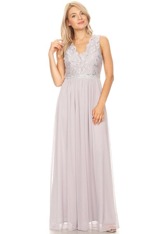 Long A-line Sleeveless Dress with Lace Bodice by Celavie 6467L