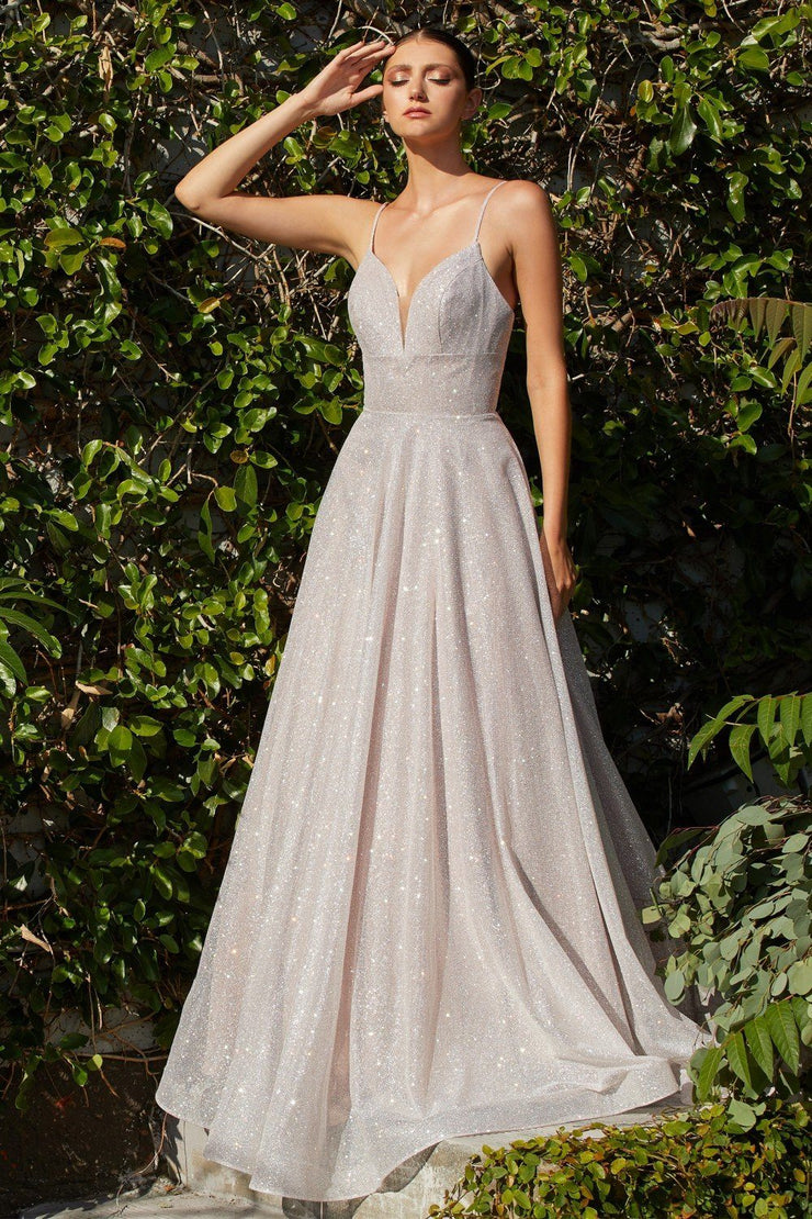 Long Sleeveless Glitter Dress by Cinderella Divine CD205