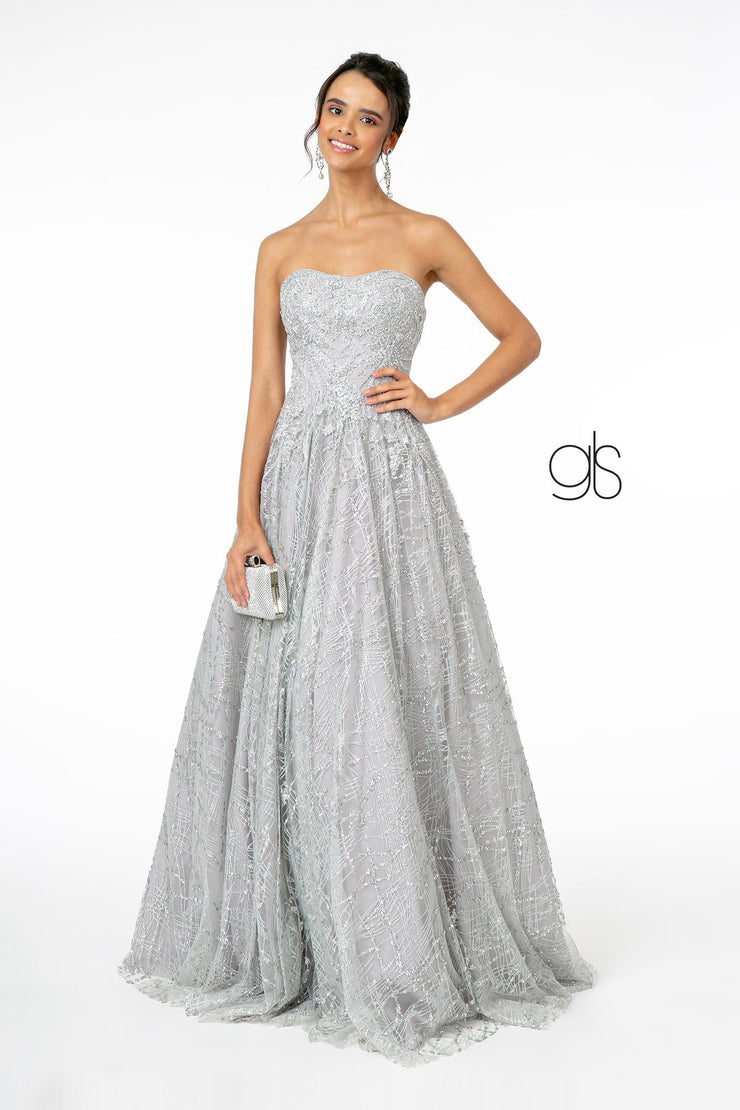 Long A-Line Strapless Glitter Dress by Elizabeth K GL2921