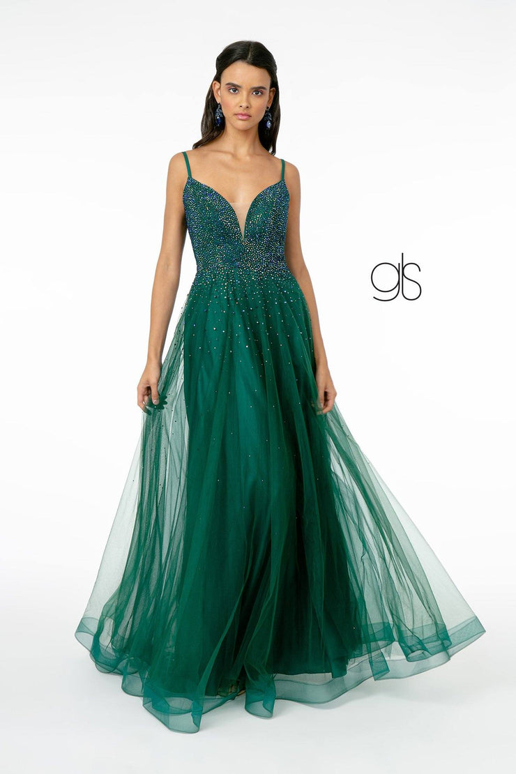 Long A-line Tulle Dress with Beaded Bodice by Elizabeth K GL2891