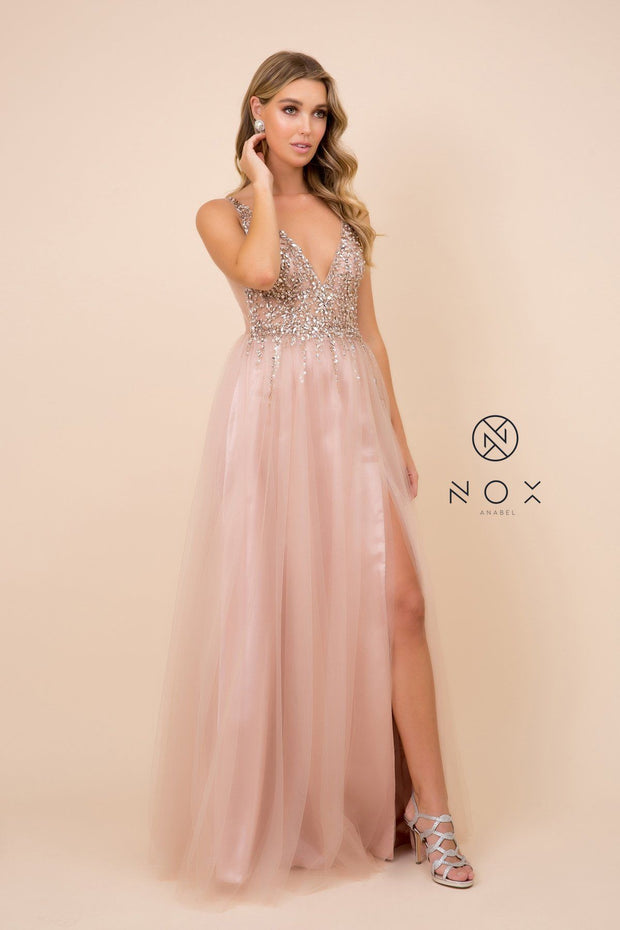 Long A-line Tulle Dress with Beaded Bodice by Nox Anabel G388