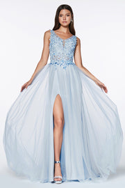 Long A-line Tulle Dress with Lace Top by Cinderella Divine KV1040-Long Formal Dresses-ABC Fashion