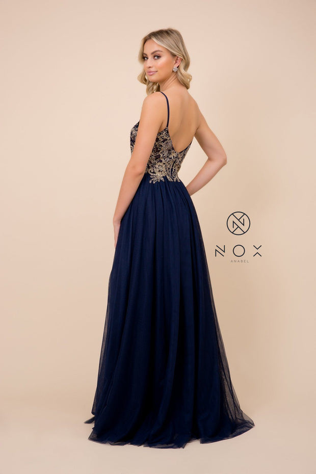 Long Applique Bodice Tulle Dress with Slit by Nox Anabel G383