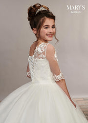 Long Applique Flower Girl Dress with Sleeves by Mary's Bridal MB9048-Girls Formal Dresses-ABC Fashion