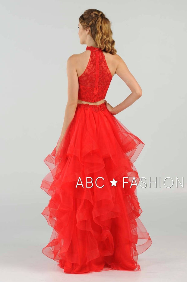 Long Applique Two-Piece Dress with Tiered Skirt by Poly USA 8240-Long Formal Dresses-ABC Fashion