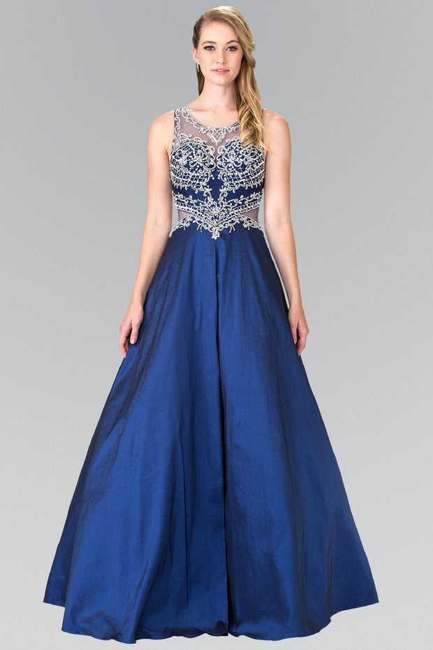 Long Beaded Gown with Sheer Side Cutouts by Elizabeth K GL2253-Long Formal Dresses-ABC Fashion