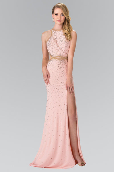 Long Beaded Halter Dress with Slit by Elizabeth K GL2265-Long Formal Dresses-ABC Fashion