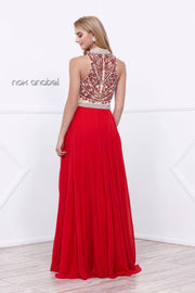 Long Beaded High-Neck Halter Illusion Dress by Nox Anabel 8325-Long Formal Dresses-ABC Fashion