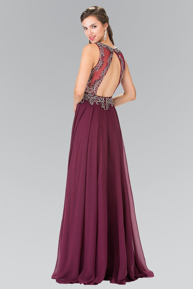 Long Beaded Illusion Dress with Open Back by Elizabeth K GL2273-Long Formal Dresses-ABC Fashion