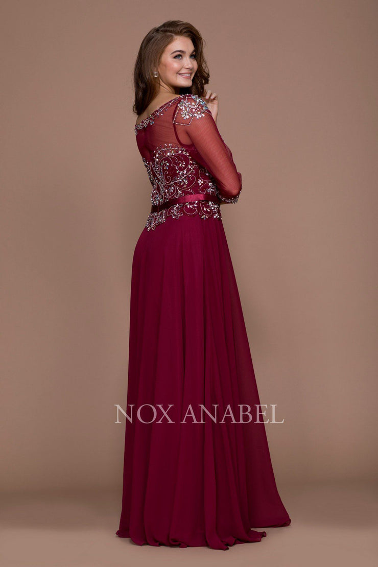 Long Beaded Illusion Dress with Sheer Sleeves by Nox Anabel 5124-Long Formal Dresses-ABC Fashion