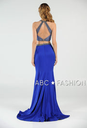 Long Beaded Two-Piece Dress with Open Back by Poly USA 7964-Long Formal Dresses-ABC Fashion
